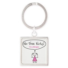 tree-nut-allergy-girl-clr Square Keychain