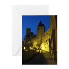 postcard carcassonne Evening Greeting Card