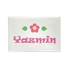 "Pink Daisy - ""Yazmin"" Rectangle Magnet"