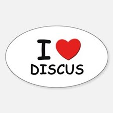 I love discus Oval Decal