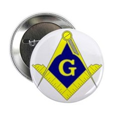 "Square  Compass - Gold  Blue - with G 2.25"" Button"