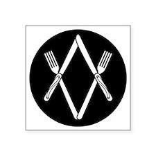 "Knife  Fork Degree Square Sticker 3"" x 3"""