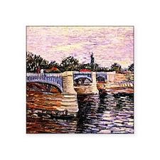 "Van Gogh - The Seine with t Square Sticker 3"" x 3"""