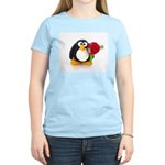 Clay Penguin with Rose Women's Pink T-Shirt