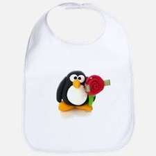 Clay Penguin with Rose Bib