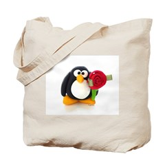 Clay Penguin with Rose Tote Bag