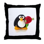 Clay Penguin with Rose Throw Pillow