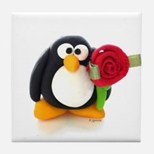 Clay Penguin with Rose Tile Coaster