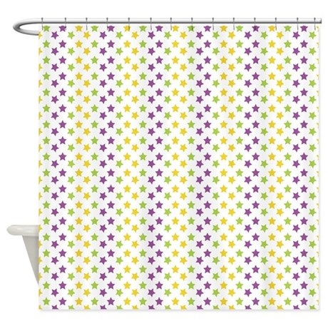Purple Green Yellow Stars Shower Curtain By CutePrints