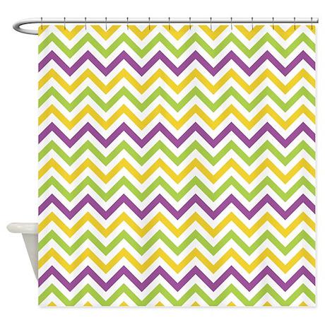 Purple Green Yellow Chevron Shower Curtain By Cuteprints