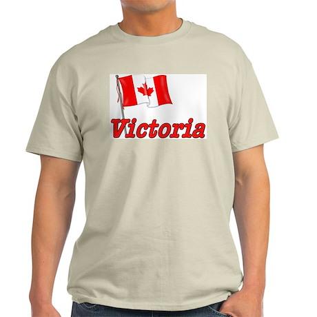 Canada Flag - Victoria Text Ash Grey T-Shirt