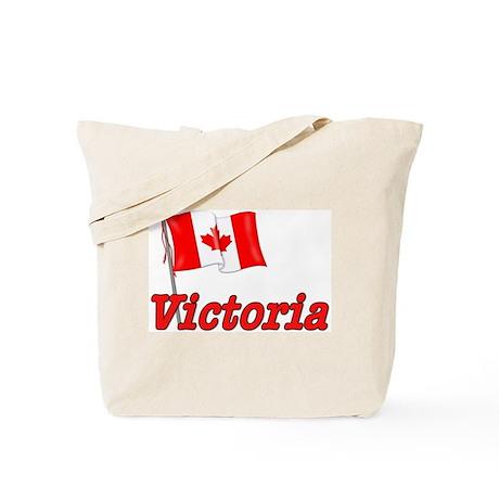 Canada Flag - Victoria Text Tote Bag