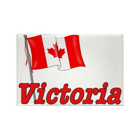 Canada Flag - Victoria Text Rectangle Magnet (10 p