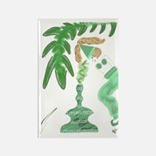 Genie with Green Palm Tree Rectangle Magnet