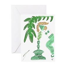 Genie with Green Palm Tree Greeting Card