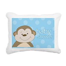 Bambino Monkey Blue Rectangular Canvas Pillow