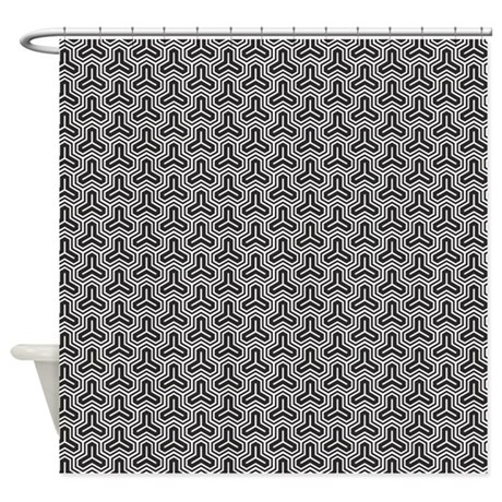 Black Geometric Pattern Shower Curtain By Cuteprints