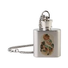 irish girl with cats Flask Necklace