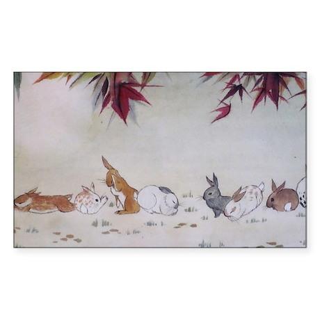Rabbit Nap Sticker (Rectangle)