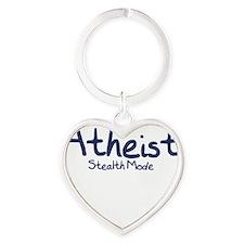 Atheist Stealth Mode - Navy Heart Keychain