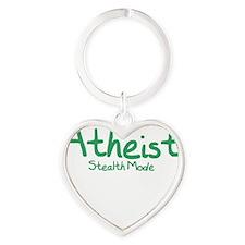 Atheist Stealth Mode - Kelly Green Heart Keychain