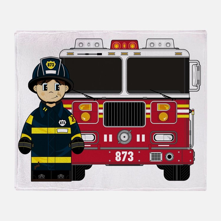 Fireman Pad1 Throw Blanket
