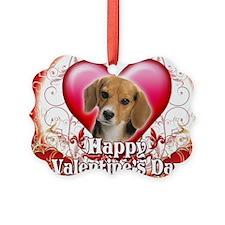 Happy Valentines Day Beagle Ornament