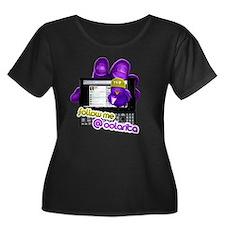 shirt de Women's Plus Size Dark Scoop Neck T-Shirt