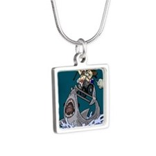 Jump The Shark Green Silver Square Necklace