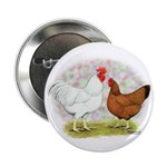 White Red Chickens Button