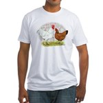 White Red Chickens Fitted T-Shirt
