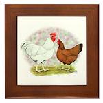 White Red Chickens Framed Tile
