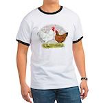 White Red Chickens Ringer T