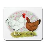 White Red Chickens Mousepad