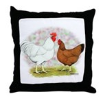 White Red Chickens Throw Pillow