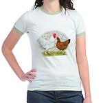 White Red Chickens Jr. Ringer T-Shirt