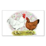White Red Chickens Rectangle Sticker