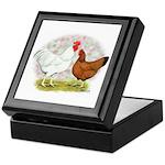 White Red Chickens Keepsake Box