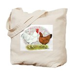 White Red Chickens Tote Bag