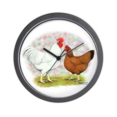 White Red Chickens Wall Clock