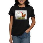 White Red Chickens Women's Dark T-Shirt