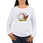 White Red Chickens Women's Long Sleeve T-Shirt