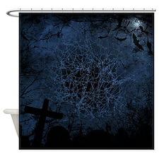 graveyard, graves blue Shower Curtain
