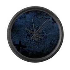 graveyard, graves blue Large Wall Clock