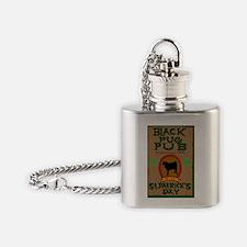black pug pub shirt Flask Necklace