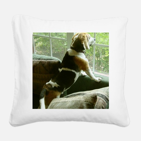 Window gazing Square Canvas Pillow