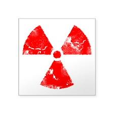 "radiationSymbErodedRed Square Sticker 3"" x 3"""