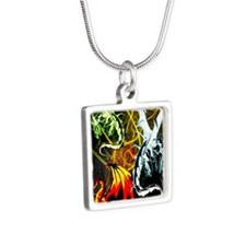 Dragons - Inner Rage Silver Square Necklace