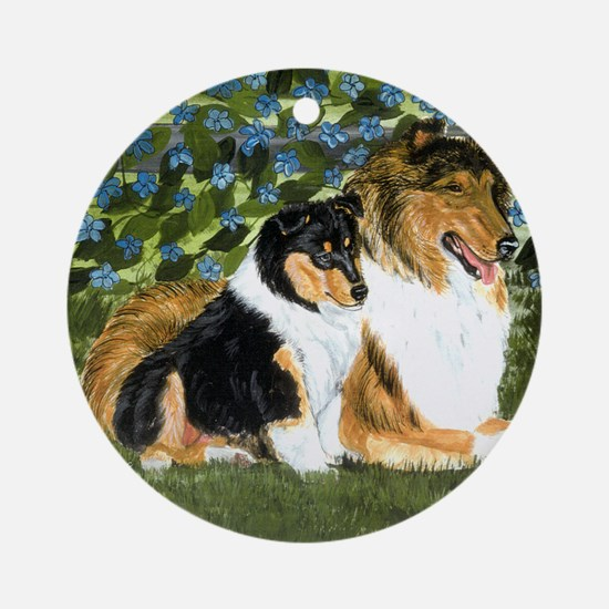 Rough Collie Mom Round Ornament