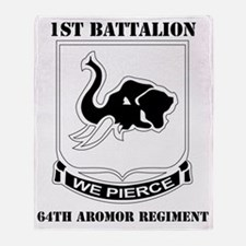 DUI - 1-64th Armor Regiment with Tex Throw Blanket